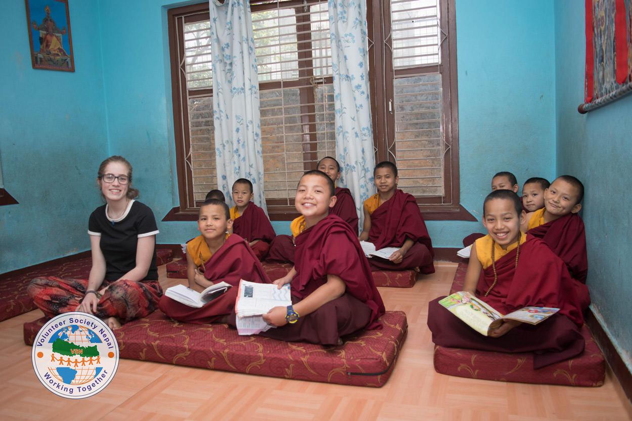 Teaching at monastery nepal
