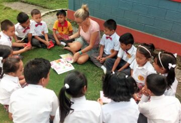 Volunteer teaching at school in Pokhara